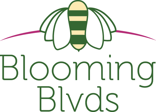logo that looks like a combination flower and bumble bee with text reading blooming boulevards